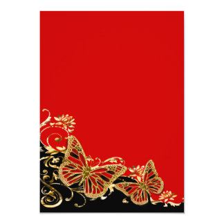 Red black gold wedding engagement anniversary card