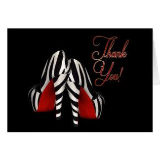 Red Black Gold Zebra High Heels Thank You Card