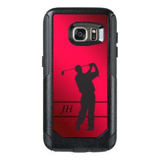 Red Black Golfer Monogram OtterBox Samsung Galaxy S7 Case