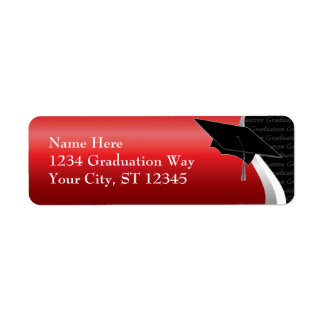 Red & Black Graduation Address Label