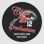 "Red black graduation ""class of"" announcement stickers"