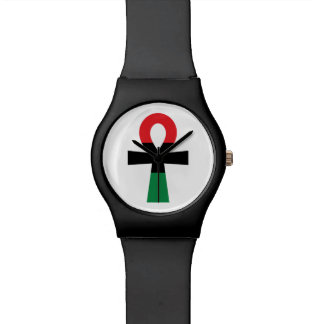 Red, Black & Green Ankh Watch