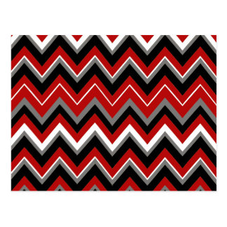 Red Black Grey and White Zig Zag Pattern Postcards