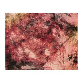 Red black grunge abstract paint brush modern art wood print