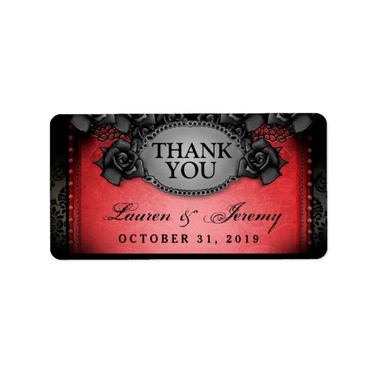Red & Black Halloween Wedding Thank You Labels
