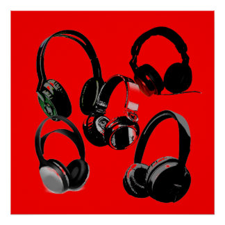 Red Black Headphone Silhouettes Pop Art Poster