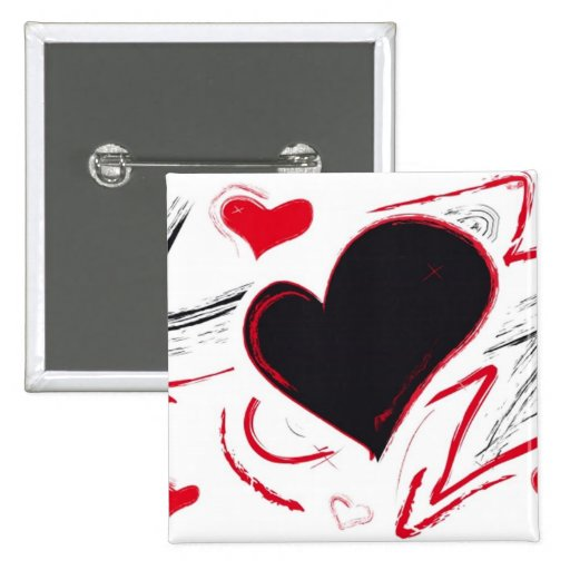 Red-Black heart abstract Pinback Buttons