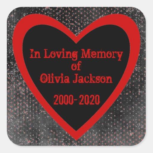 Red black heart grunge custom sympathy stickers