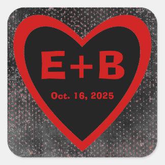 Red black heart grunge custom wedding stickers