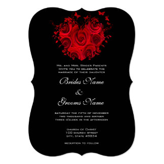 Red & Black Heart Roses Butterfly Weddings 13 Cm X 18 Cm Invitation Card