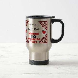 Red Black Hearts Names Date 10 Yr Anniversary Coffee Mugs