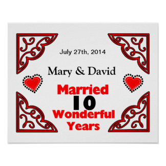 Red Black Hearts Names Date 10 Yr Anniversary Print
