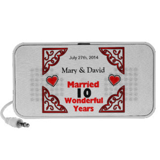 Red Black Hearts Names & Date 10 Yr Anniversary Travel Speakers