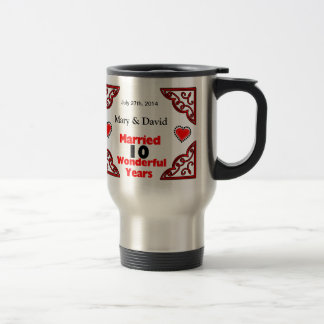 Red Black Hearts Names & Date 10 Yr Anniversary Travel Mug