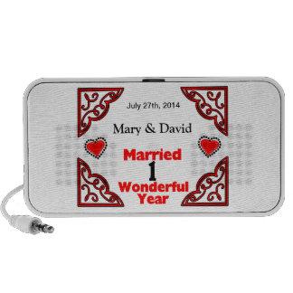 Red Black Hearts Names Date 1 Yr Anniversary Mini Speakers