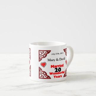 Red Black Hearts Names & Date 20 Yr Anniversary Espresso Mug