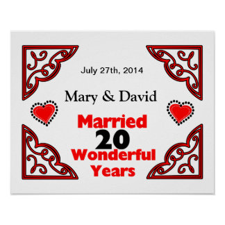 Red Black Hearts Names Date 20 Yr Anniversary Print