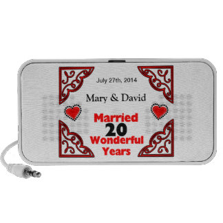 Red Black Hearts Names & Date 20 Yr Anniversary Travelling Speaker