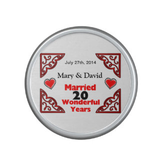Red Black Hearts Names & Date 20 Yr Anniversary Speaker
