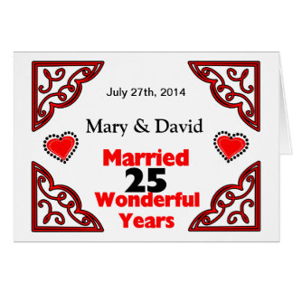 Red Black Hearts Names & Date 25 Yr Anniversary Greeting Cards