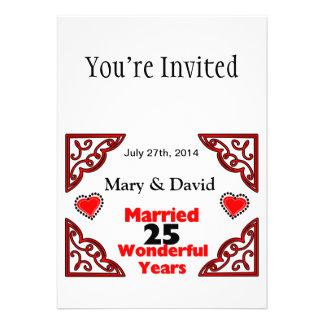 Red Black Hearts Names Date 25 Yr Anniversary Custom Invitation