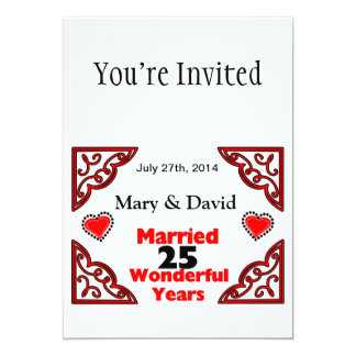 Red Black Hearts Names & Date 25 Yr Anniversary 13 Cm X 18 Cm Invitation Card