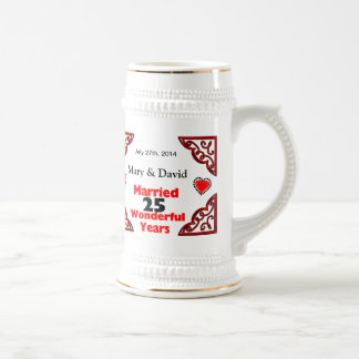 Red Black Hearts Names & Date 25 Yr Anniversary Coffee Mug