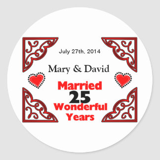Red Black Hearts Names Date 25 Yr Anniversary Round Stickers