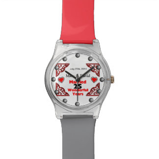 Red Black Hearts Names Date 25 Yr Anniversary Wrist Watches