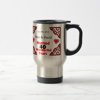 Red Black Hearts Names & Date 40 Yr Anniversary Stainless Steel Travel Mug