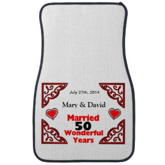 Red Black Hearts Names Date 50 Yr Anniversary Car Mat