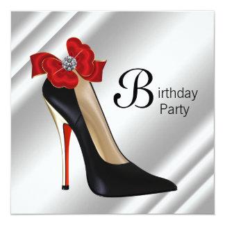 Red Black High Heel Shoe Birthday Party 13 Cm X 13 Cm Square Invitation Card