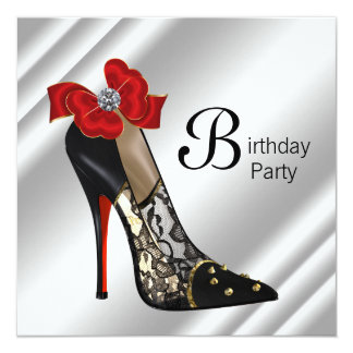 "Red Black High Heel Shoe Birthday Party 5.25"" Square Invitation Card"