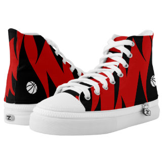 Red & Black High Top Shoes Printed Shoes