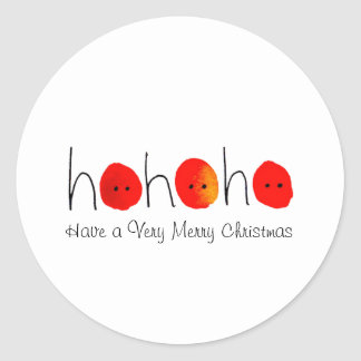 Red & Black Ho Ho Ho Hand-painted Christmas Classic Round Sticker