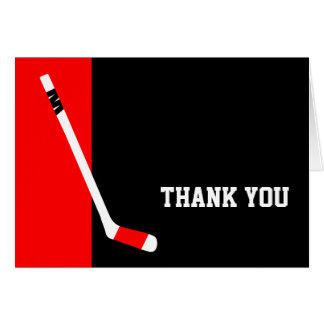 Red Black Hockey Thank You Card