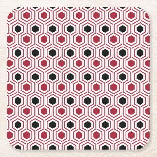 Red Black Honey Square Paper Coaster
