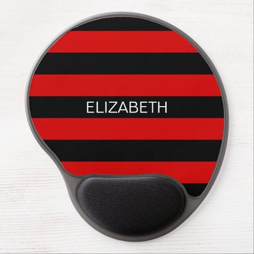 Red Black Horiz Preppy Stripe Name Monogram Gel Mousepads