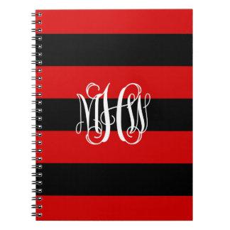 Red Black Horiz Stripe #3 Vine Script Monogram Note Books