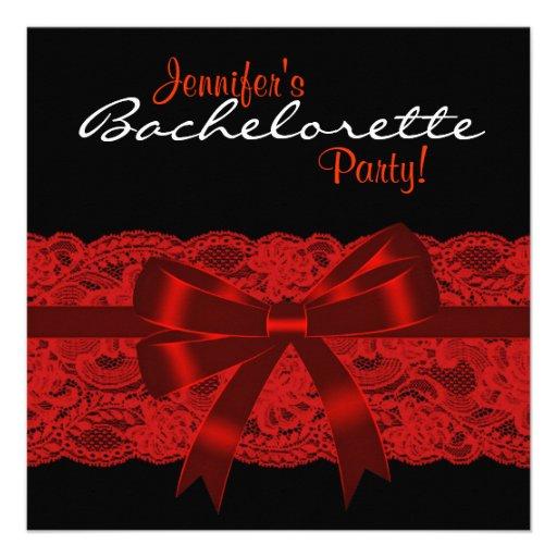 Red Black Lace Bachelorette Party Invitation