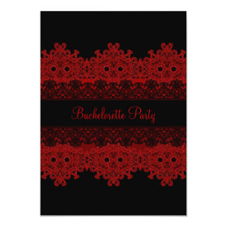 Red & Black Lace Bachelorette Party Invite
