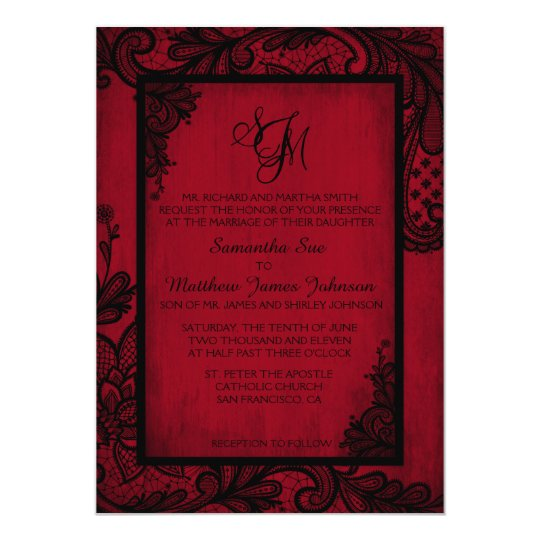 Black And Red Wedding Invitations: Red Black Lace Gothic Wedding Invitation Card