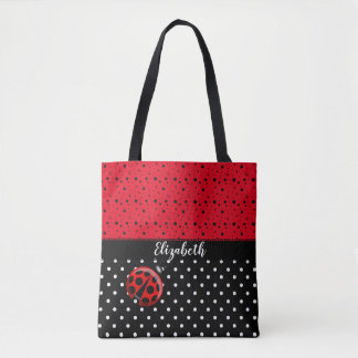 Red Black Ladybug Polka Dot Bug Beetles Name Tote Bag