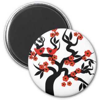 Red black Love birds sakura cherry tree & Blossoms 6 Cm Round Magnet