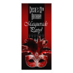 Red Black Masquerade Birthday Party Invitation Customised Rack Card