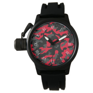 Red black military camouflage textures watch