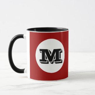 Red Black Monogram Custom Printed Coffee Mug