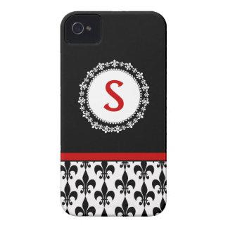 Red Black Monogram Fleur de Lis iPhone 4/4S Case