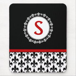 Red Black Monogram Fleur de Lis Mousepad