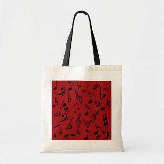 Red Black Music Notes Bag